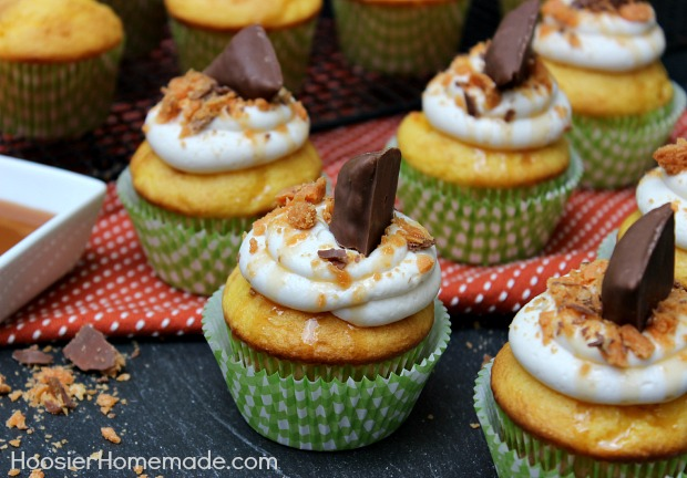 Butterfinger Cupcakes :: Recipe on HoosierHomemade.com