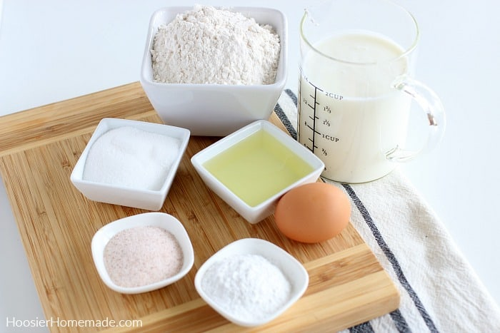 Ingredients to make Buttermilk Pancakes