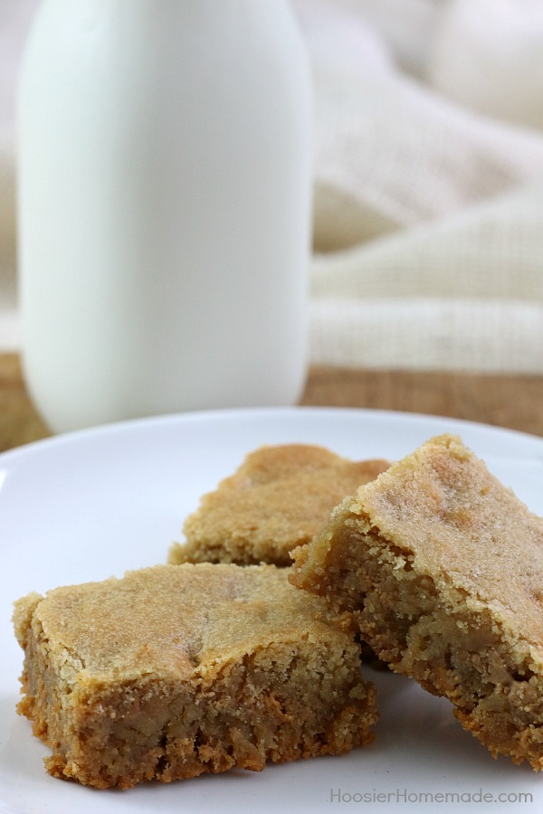 Grab the milk! It's time for Butterscotch Brownies! These rich, thick, full of flavor blondie bars are perfect for any occasion and are super easy to make!