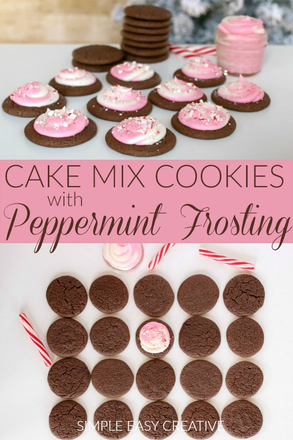 Cake Mix Cookies with Peppermint Frosting