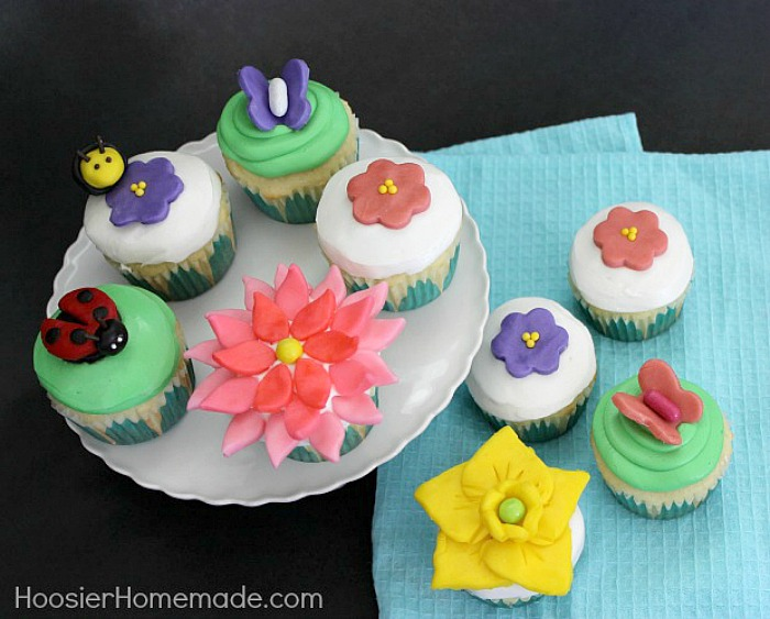 Spring Flower Cupcakes made with Candy Clay