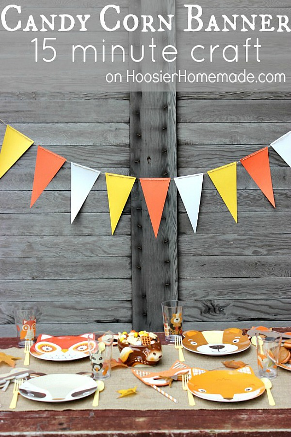 With our busy lives it's always nice to have a quick craft that you can make with just a few simple supplies. Add a little pizzazz to your festivities with this easy 15 minute craft, a Candy Corn Banner.