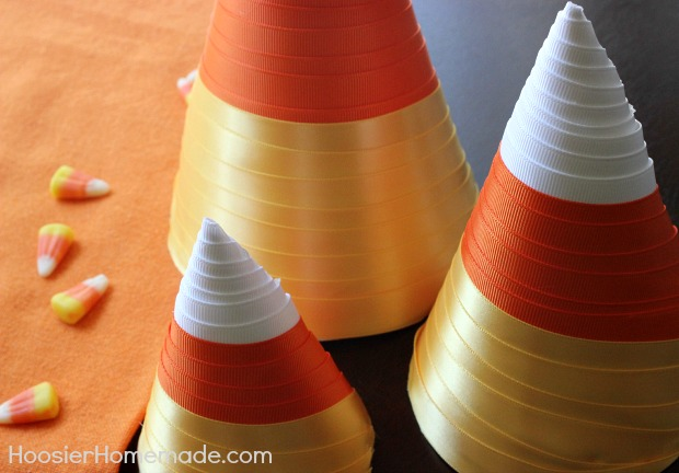 Candy Corn Paper Craft   Instructions on HoosierHomemade.com