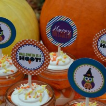 """Halloween is a Hoot"" cupcake toppers"