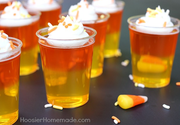 Candy Corn Jello Shots :: Recipe on HoosierHomemade.com