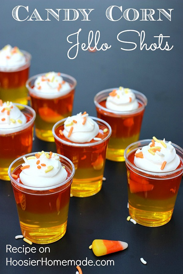 CANDY CORN JELLO SHOTS -- Make these fun Jello Shots with or without alcohol! Both recipes available! Layer the colors to look like candy corn! It's a fun Fall treat!