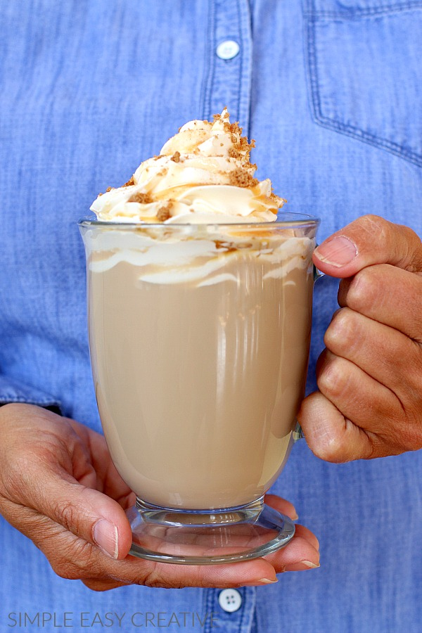 Warm Latte Drink with Caramel Apple