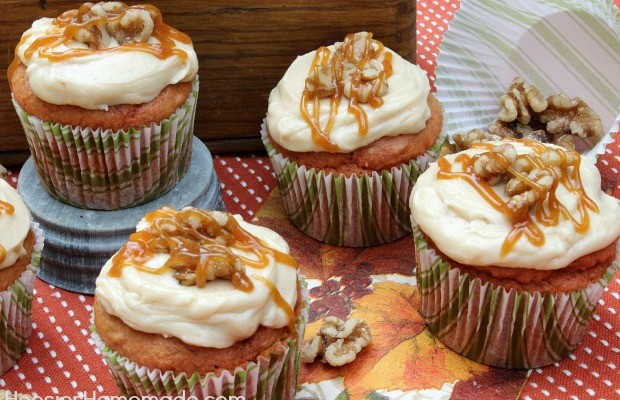 Caramel Apple Cupcakes :: Recipe on HoosierHomemade.com