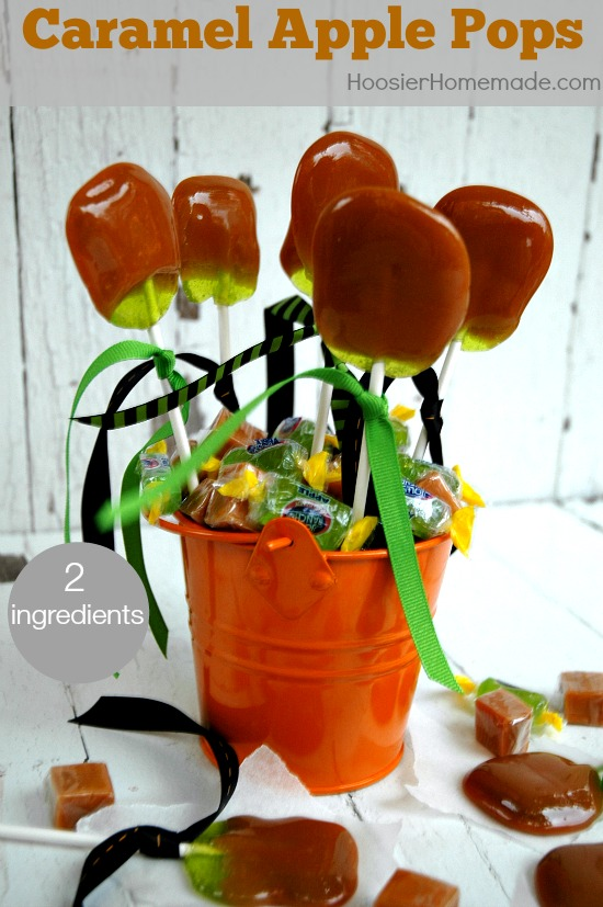 Homemade Caramel Apple Pops   Just 2 ingredients to make this delicious Fall Treat   Recipe on HoosierHomemade.com