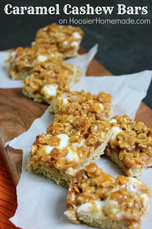 Caramel Cashew Bar Cookies :: Recipe on HoosierHomemade.com
