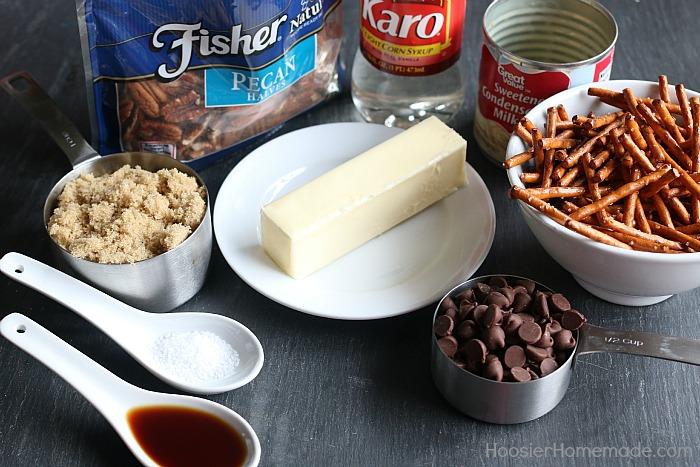 Caramel Pecan Pretzel Bars.ingredients
