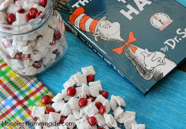Cat in the Hat Muddy Buddies | Recipe on HoosierHomemade.com