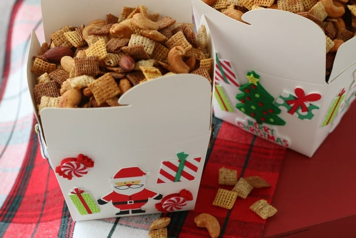 Chex Mix in a decorated take out box