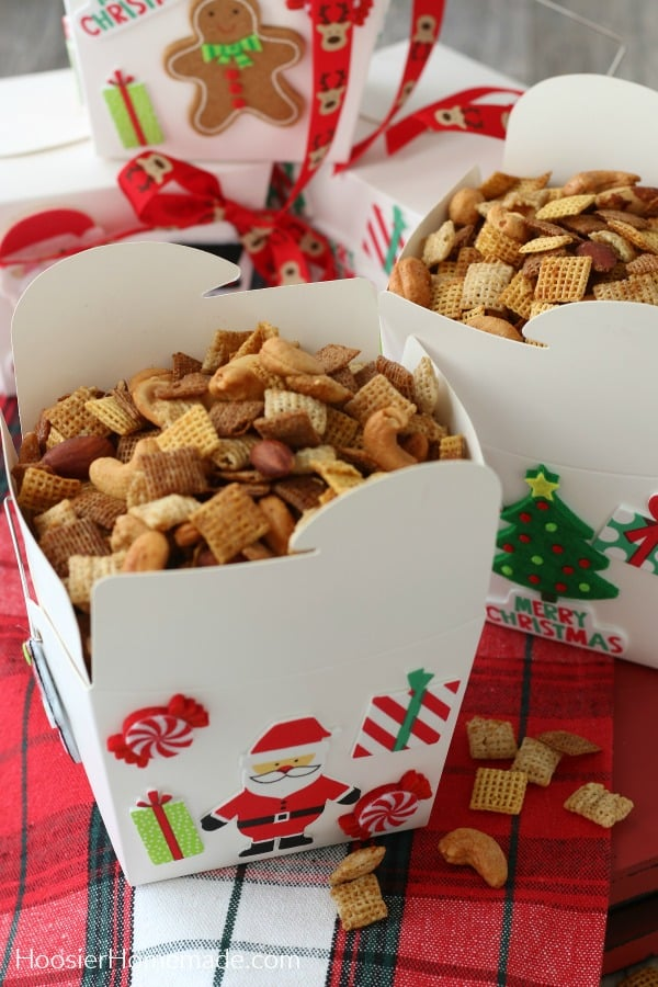 Snack Mix for Christmas in take out boxes
