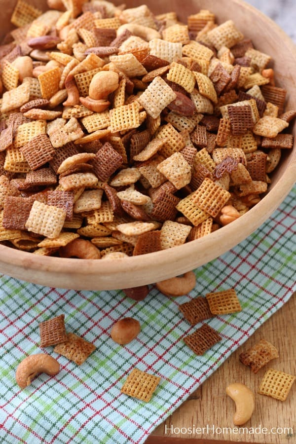 Chex Mix Recipe in wood bowl