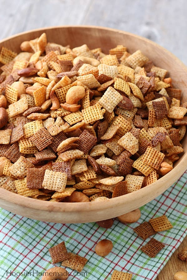Chex Mix Recipe in brown bowl