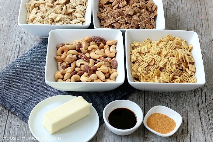 Ingredients for Homemade Chex Mix Recipe