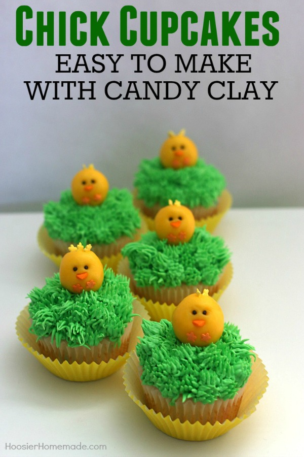 Grab the kids! It's time to make these adorable Chick Cupcakes! The chicks are made with Candy Clay - which is ONLY 2 ingredients! Step by step photos included!