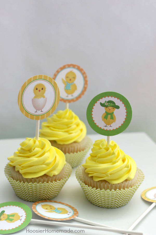 Add these adorable FREE Printable Cupcake Toppers to your Spring or Easter Cupcakes! These go perfect with the Chick Cupcakes!