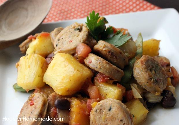 Jalapeno Chicken Sausage with Mango Salsa   Recipe on HoosierHomemade.com