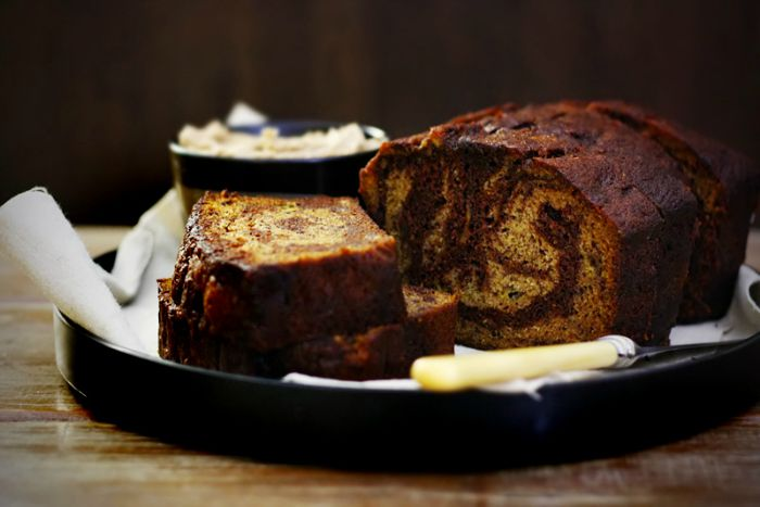 Chocolate Banana Bread with Cinnamon Butter