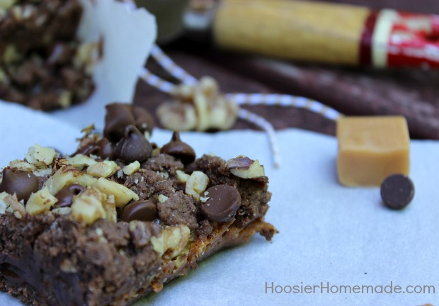 Chocolate Caramel Nut Bars :: Recipe on HoosierHomemade.com