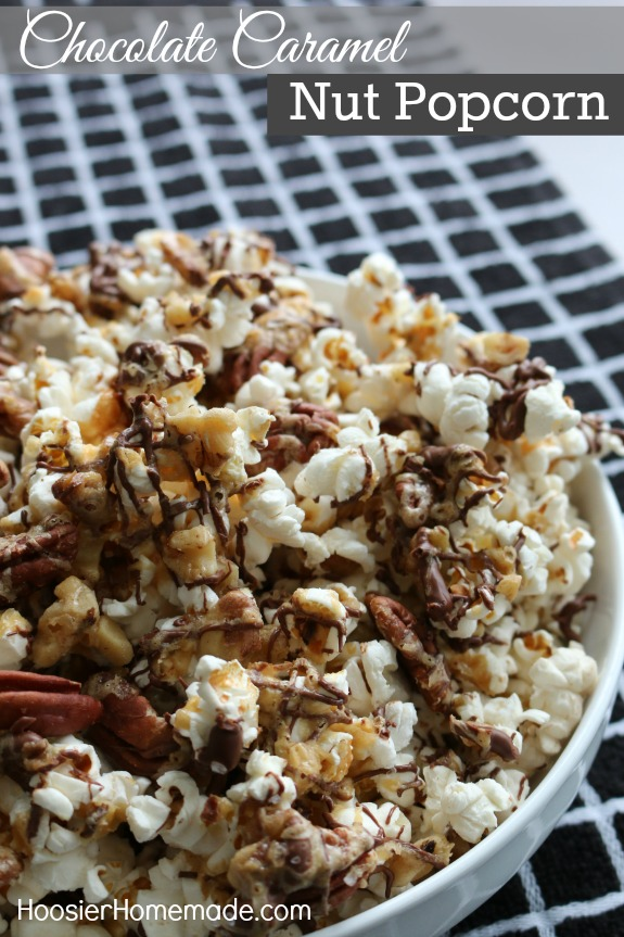 Chocolate Caramel Nut Popcorn - the perfect sweet - salty snack! Be careful you might just need to make a double batch! Pin to your Recipe Board!