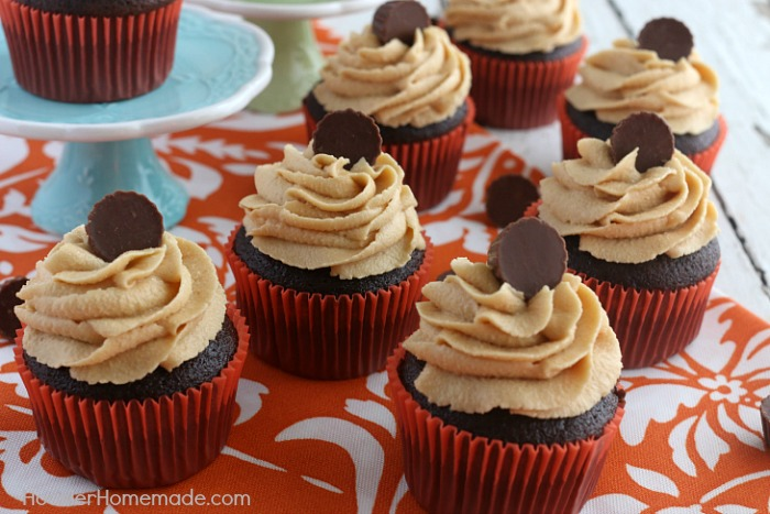 CHOCOLATE CUPCAKES WITH PEANUT BUTTER FROSTING -- This Homemade Chocolate Cupcakes Recipe will blow you away! The secret ingredient might just surprise you! These moist cupcakes are perfect for any occasion!