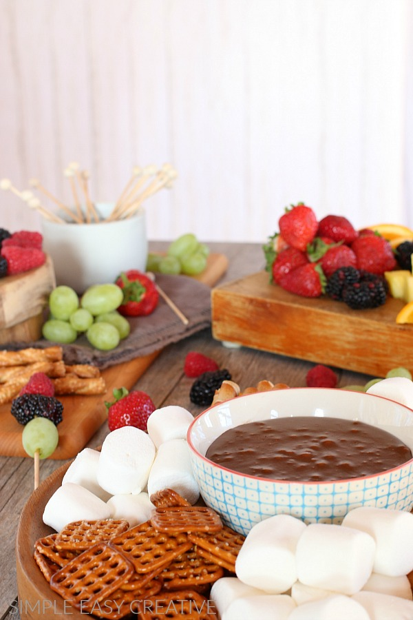Chocolate Fondue with fruit dippers