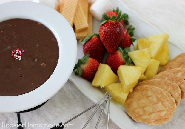 Chocolate Fondue: 2 ingredients and only 10 minutes of time | Recipe on HoosierHomemade.com