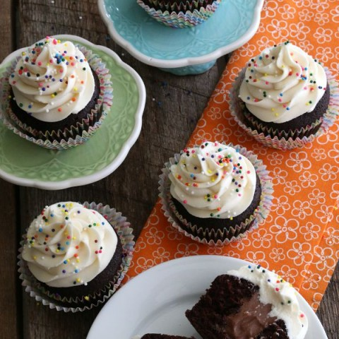 This 3 ingredient Chocolate Mousse Cupcake Filling is perfect for any occasion! Delicious in any flavor cupcake and super easy to make! Click on the Photo for the Cupcake Filling Recipe!