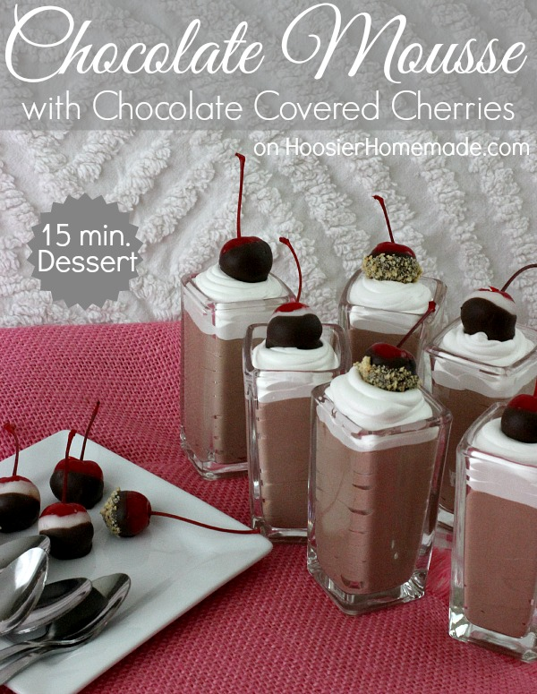Chocolate Mousse with Chocolate Covered Cherries | Recipe on HoosierHomemade.com
