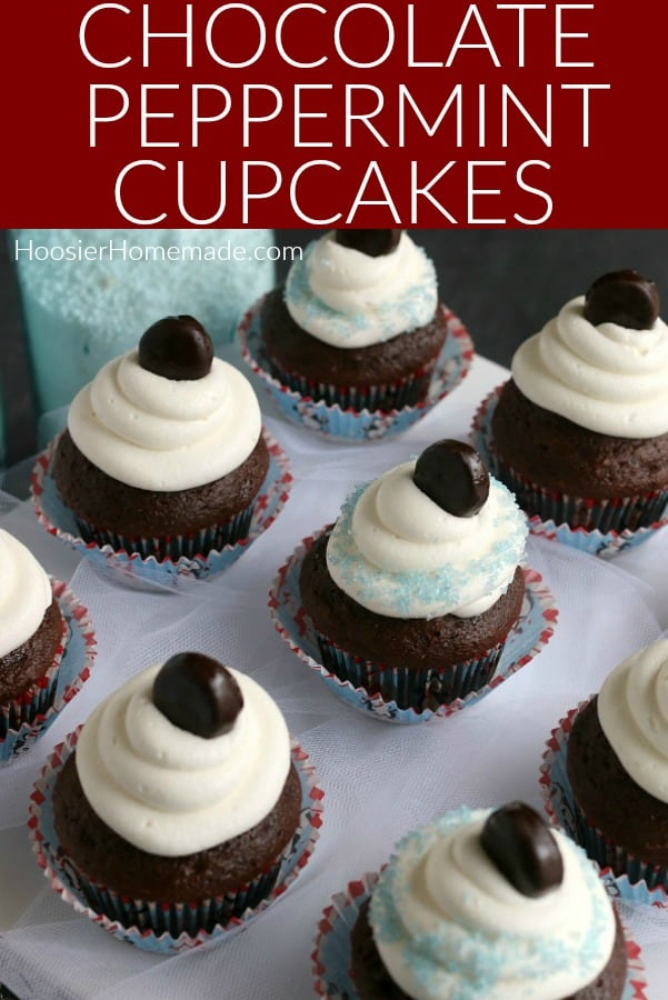 Chocolate Peppermint Cupcakes for Christmas
