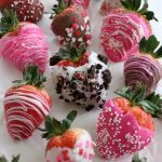 Strawberries dipped in chocolate coating