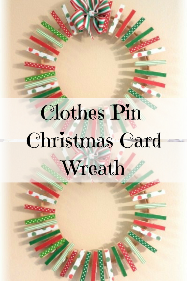 Clothes Pin Wreath for Christmas Cards