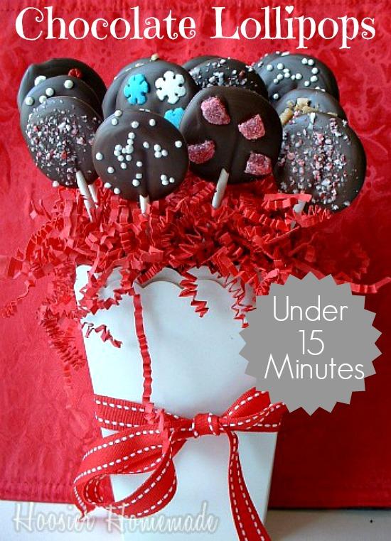 Christmas Chocolate Lollipops | Recipe on HoosierHomemade.com