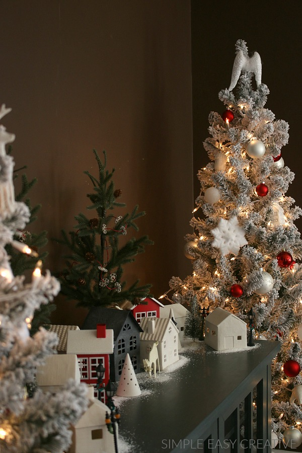 Flocked Trees decorated for Christmas