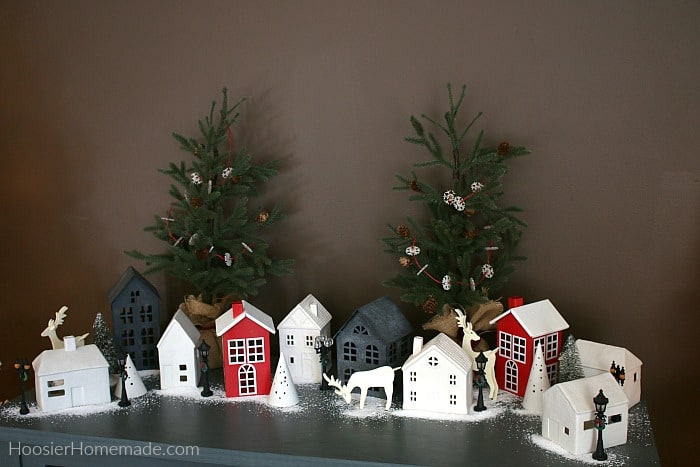Miniature Houses in Christmas Dining Room decorations