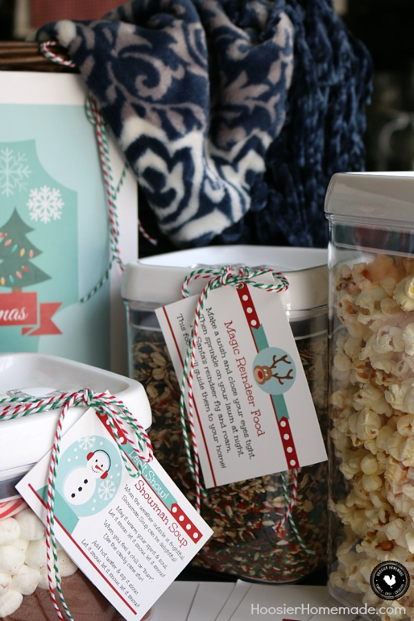 Create memories with this meaningful gift basket! The Night Before Christmas Gift Basket will be loved by the whole family! Reindeer Food, Snowman Soup, Christmas Movies, a cozy blanket to curl up with and new pajamas as you wait for Santa to arrive!