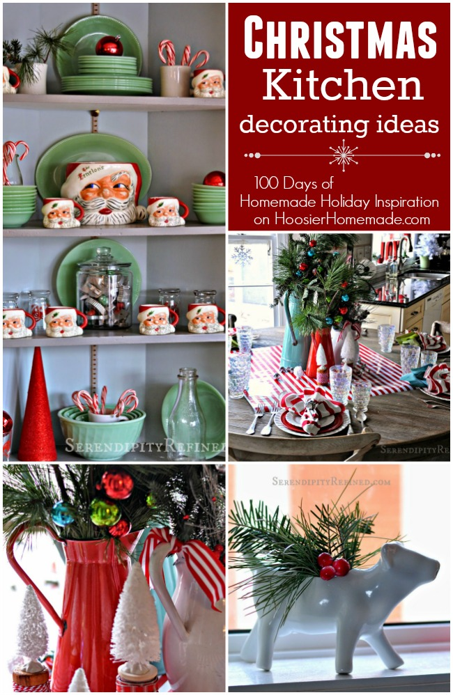 These Christmas Kitchen Decorating Ideas will brighten your home for the holidays! Visit our 100 Days of Homemade Holiday Inspiration for more recipes, decorating ideas, crafts, homemade gift ideas and much more!