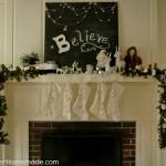 Christmas Mantel Decorating with HoosierHomemade.com
