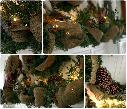 Rustic christmas mantel hoosier homemade for How to make burlap christmas decorations