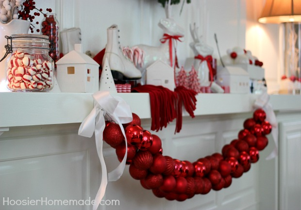 Christmas Mantel Red And White Themed Hoosier Homemade