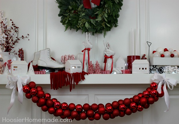Christmas Mantel decorated in Red and White | Details on HoosierHomemade.com