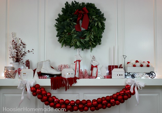 Christmas Mantel | Red and White Themed on HoosierHomemade.com