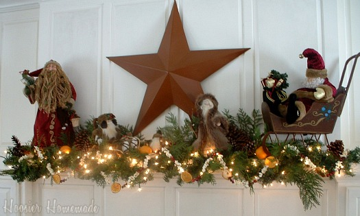 Christmas Mantle.Christmas Mantle With A Diy Garland Hoosier Homemade