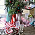 Christmas Peppermint Striped Turquoise Red White Kitchen Decor.feature