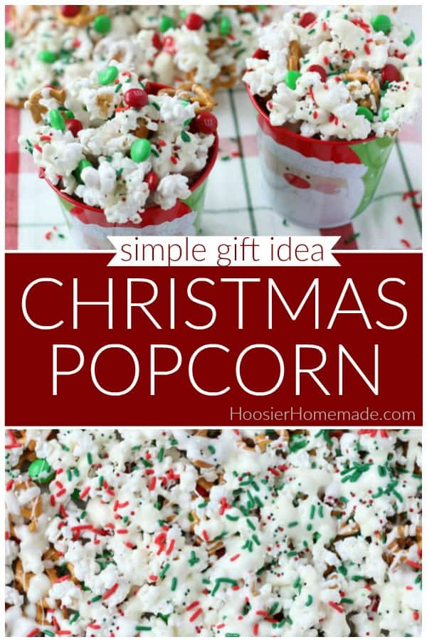 Christmas Popcorn | Put this Christmas treat together in minutes! Enjoy it during the holidays, give as a gift, add to your Christmas cookie exchange or leave out for Santa to enjoy! #christmaspopcorn #christmastreat #homemadegiftidea #giftsfromthekitchen
