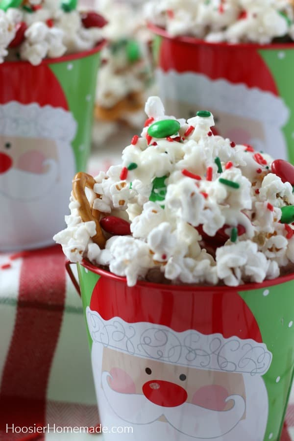 Christmas Popcorn for gifts in Santa Bucket