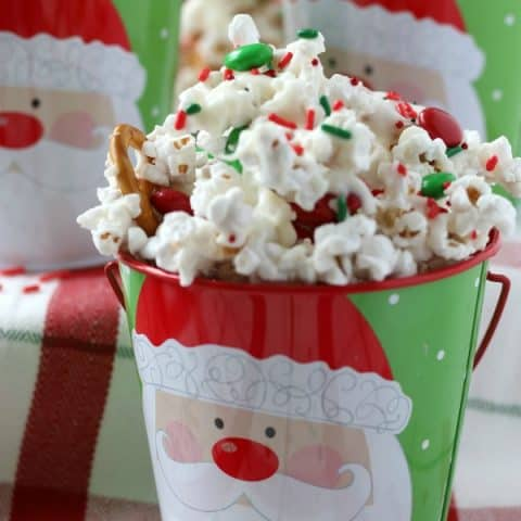 Christmas Popcorn in Santa Buckets